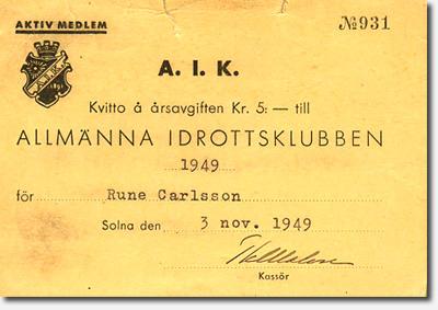 AIK Medlemskort 1949